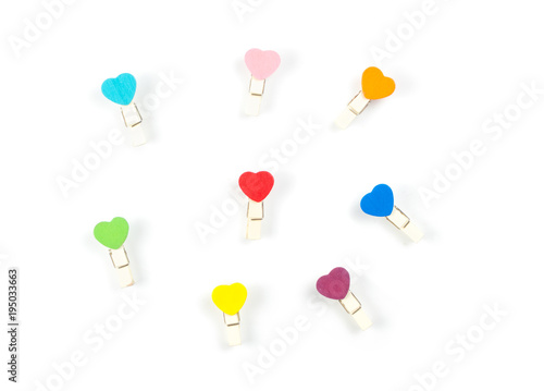 Top view Wooden colorful Paper Clip Heart set isolate on