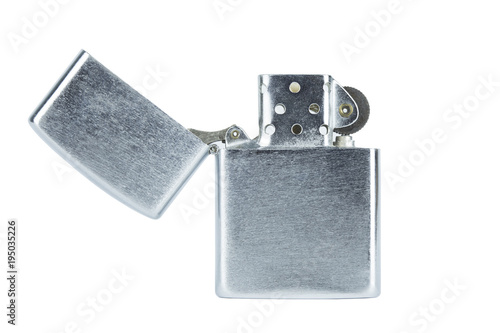 Steel silver lighter open cap isolated with clippingpath on white background concept idea copyspace Canvas Print
