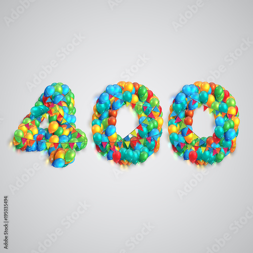 Number made by colorful balloons, vector. Fototapete