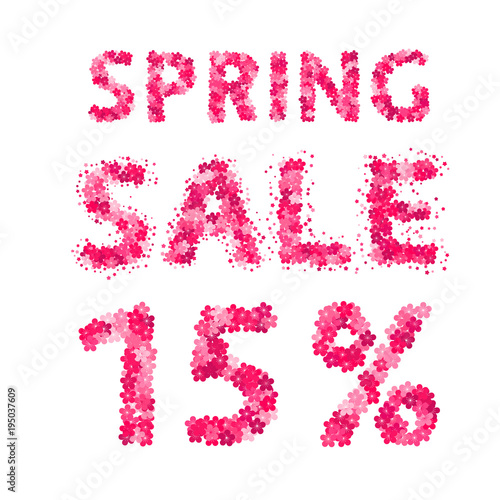 spring sale banner 15 discount sign numbers and letters made of