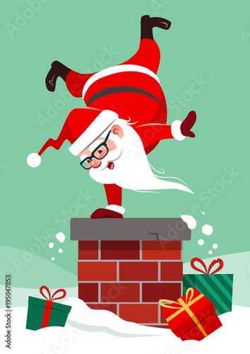 Vector Cartoon Illustration Of Santa Claus On House Roof Doing Handstand On Chimney With Colorful Wrapped Presents Lying Around In Snow Funny Humorous Christmas Winter Holiday Greeting Card Design Buy This