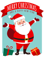 """Vector Cartoon Illustration Of Cute Smiling Santa Claus Standing With Gift Sack On Back, Gift Boxes Around, Red Ribbon Banner With Text """"Merry Christmas And A Happy New Year"""". Holiday Greeting Card."""