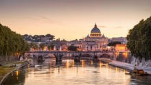 Landscape Of Rome At Sunset, Italy. Panorama Of Night Roma And Vatican.