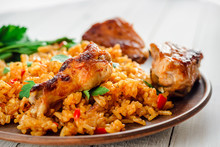 Chinese Rice. Fried Rice With Vegetables And Chicken In Sauce