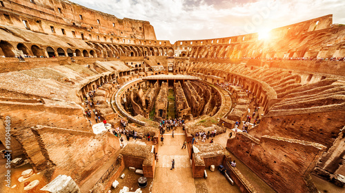 Fotografiet Inside the Colosseum or Coliseum in Rome, Italy