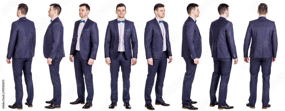Fototapeta Full body of young handsome business man isolated on white background