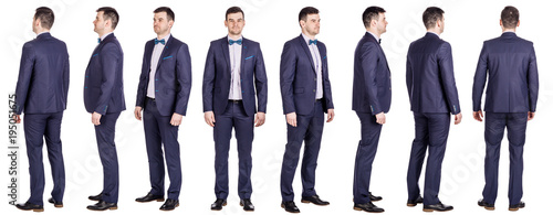 Obraz Full body of young handsome business man isolated on white background - fototapety do salonu