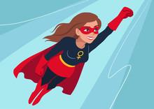 Superhero Woman In Flight. Att...