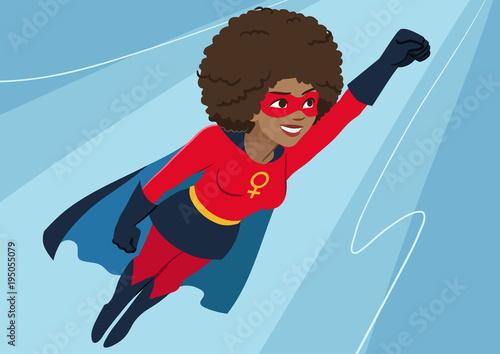 фотография Superhero woman in flight