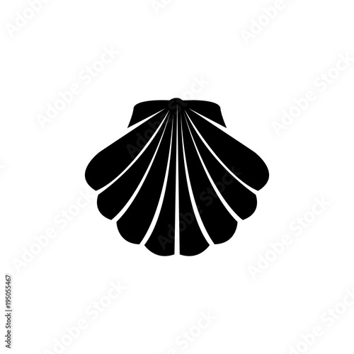 Shell vector icon. Simple flat symbol on white background Fotobehang