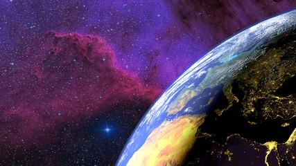 Fototapeta Terre vue du ciel avec l'alternance jour nuit et une nébuleuse en fond.