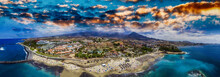 Aerial Panoramic View Of Las Americas Beach In Tenerife, Spain