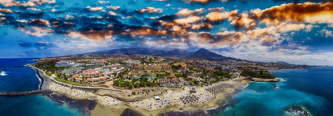 Aerial panoramic view of Las Americas Beach in Tenerife, Spain