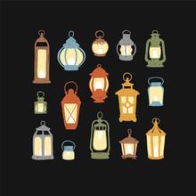 Set Of 15 Retro Lanterns