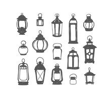 Set Of 15 Retro Lanterns. Dood...