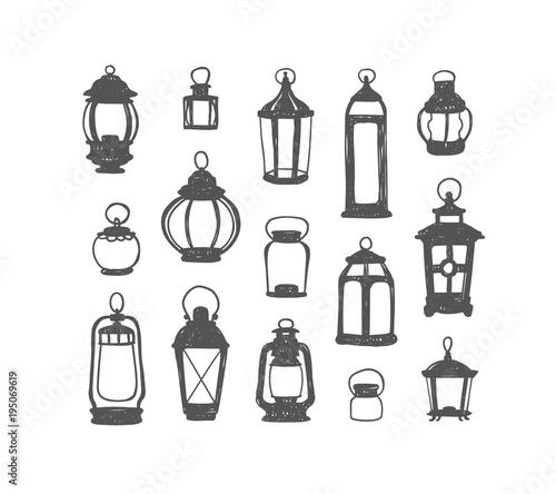 Photo Set of 15 retro lanterns. Doodle illustration
