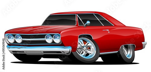 Red Hot Classic Muscle Car Coupe Cartoon Vector Illustration Buy