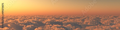 heaven, sunset over the clouds