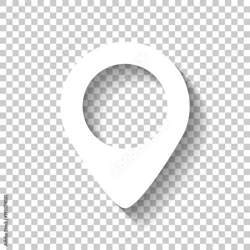 Fotografía  map label icon. White icon with shadow on transparent background