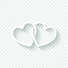 Linked Hearts Icon. White Icon With Shadow On Transparent Background