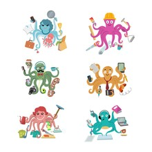 Octopus In Business Vector Ill...