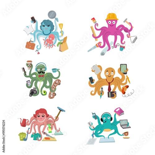 Fotografia, Obraz Octopus in business vector illustration octopi character of businessman construc