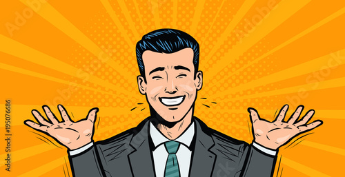 Foto auf Leinwand Pop Art Happy businessman or student rejoices at success. Business concept. Cartoon in pop art retro comic style, vector illustration