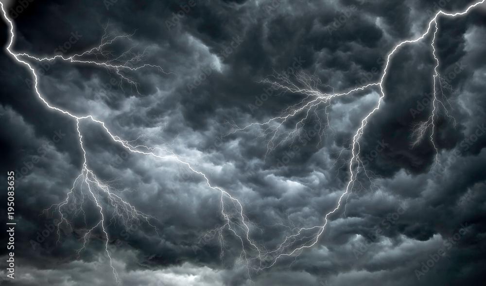 Fototapeta Dark, ominous rain clouds and lightning