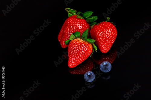 Collage group of berries and strawberries, blueberries,