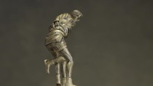 Bronze Statuette Of Two Men Wrestling With Each Other Close Up. Champion Wrestling Cup. Metal Figurine On Wrestling.
