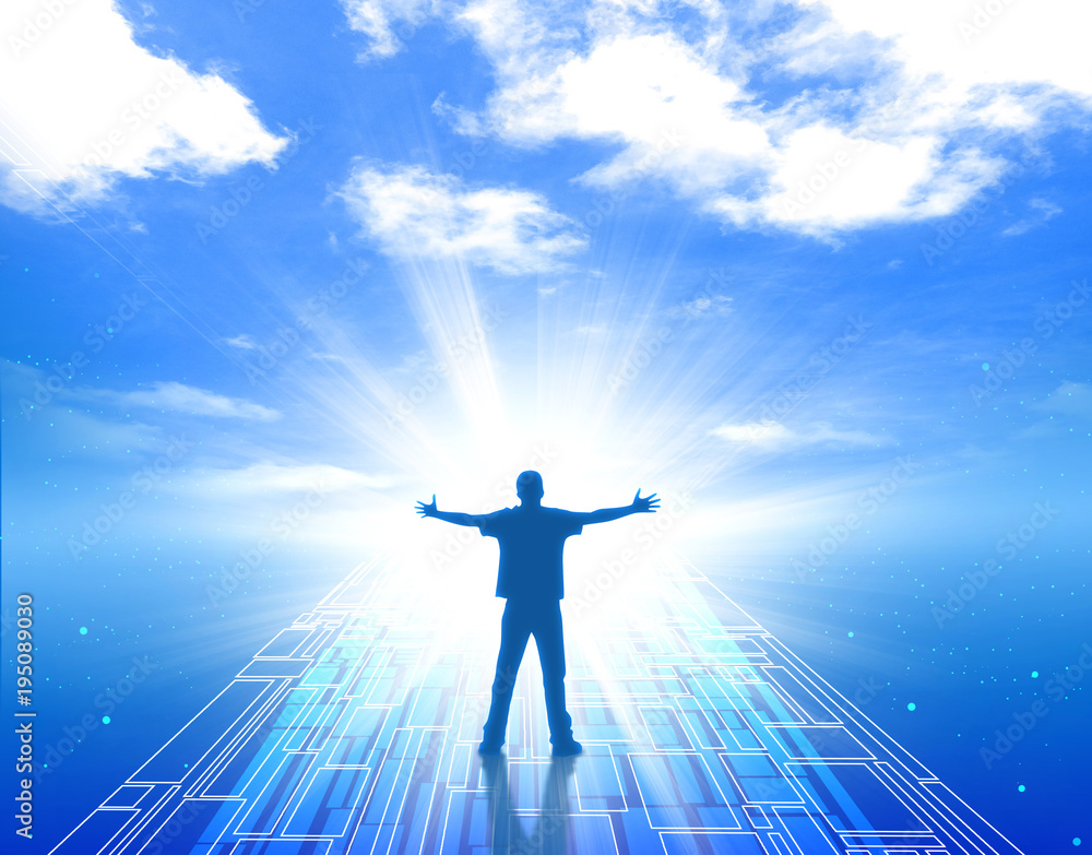 Fototapeta 未来 希望 人物 男性 未知 成功 達成 明るい未来 青空