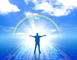 未来 希望 未知 人物 男性 成功 達成 明るい未来 青空 虹