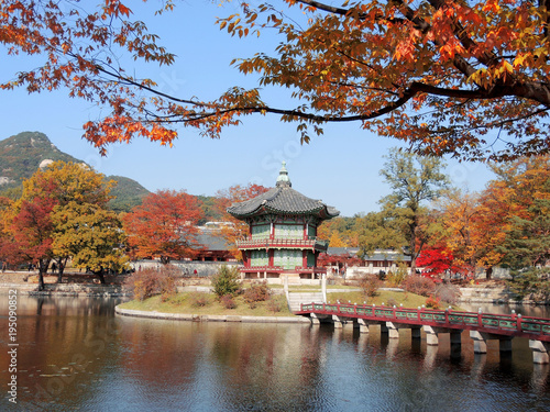 Deurstickers Seoel Korean traditional architecture Gyeongbokgung Palace Hyangwonjeong at colorful autumn leaves in Seoul, Korea
