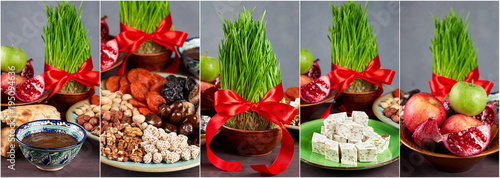 Traditional Azerbaijan sweet cuisine of holiday Nowruz. Collage background