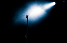 Microphone In Stage Lights Dur...