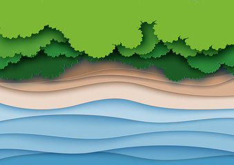 Fototapeta samoprzylepna Top view of green forest canopy,beach and sea layers background.Nature and environment landscape creative idea concept of paper art style.Vector illustration.