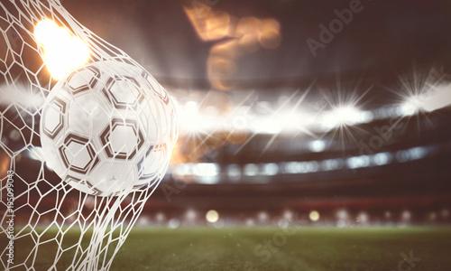 Fotografia Soccer ball scores a goal on the net. 3D Rendering