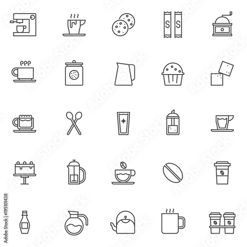 Coffee Shop Elements Outline Icons Set Linear Style Symbols