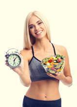 Woman In Sportswear With Salad...