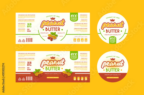Valokuva Set of templates label for peanut butter