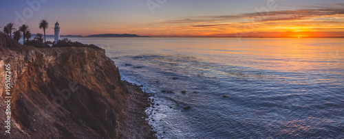 Staande foto Los Angeles Beautiful Point Vicente Lighthouse at Sunset Panorama