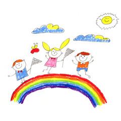 Fototapeta samoprzylepna Kindegraten and school children. Kids drawing. Happy cartoon childen play and study. Colorul illustration. Imagination and exploration.