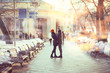 blurred background couple in love in the spring city