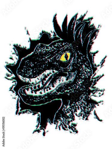 Photo  Grunge Velociraptor Portrait