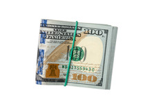 Dollar Bills Together By Rubber Band Isolated On White Background.