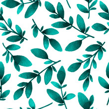 Hand Painted Leaves. Seamless Watercolor Pattern In Teal Color