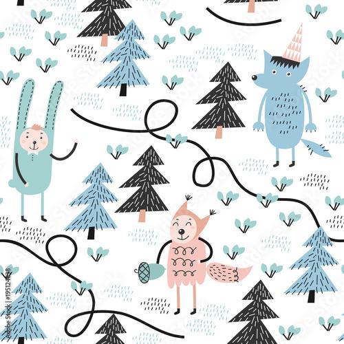 Stoffe zum Nähen Nahtlose Muster mit Wolf, Kaninchen und Eichhörnchen. Kindliche Muster. Ideal für Stoff.