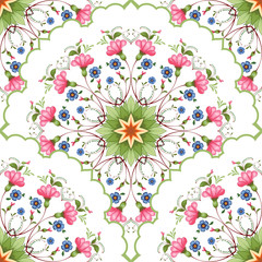 Fototapeta Orientalny Vector seamless floral round background with pink and blue flowers. Pattern in style of Petrykivka painting.