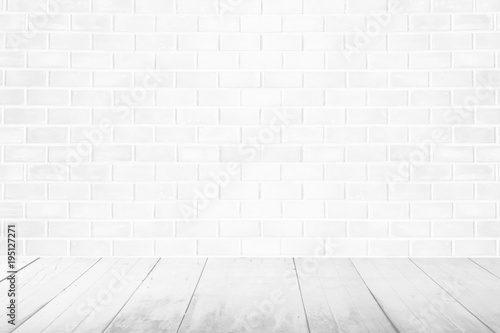 white wood floor background.  White Empty Interior Vintage Room With White Brick Wall And Wood Floor  Background And White Wood Floor Background A