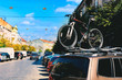 Bicycle on the roof of the car